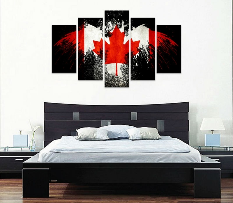 5 Piece Canvas Art New Canada Flag Wall Art Canvas Painting Within Canvas Wall Art In Canada (View 4 of 15)