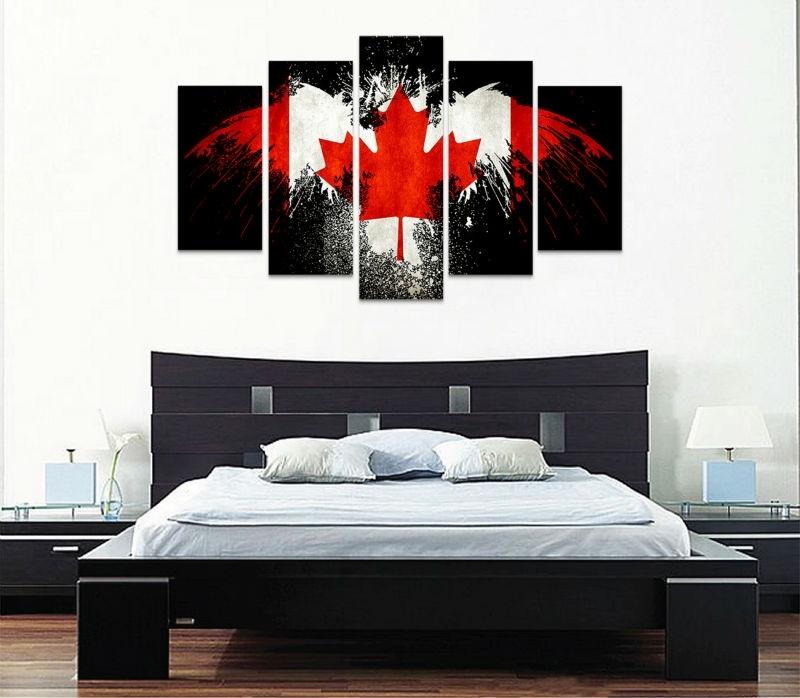 5 Piece Canvas Art New Canada Flag Wall Art Canvas Painting Within Canvas Wall Art In Canada (Image 6 of 15)