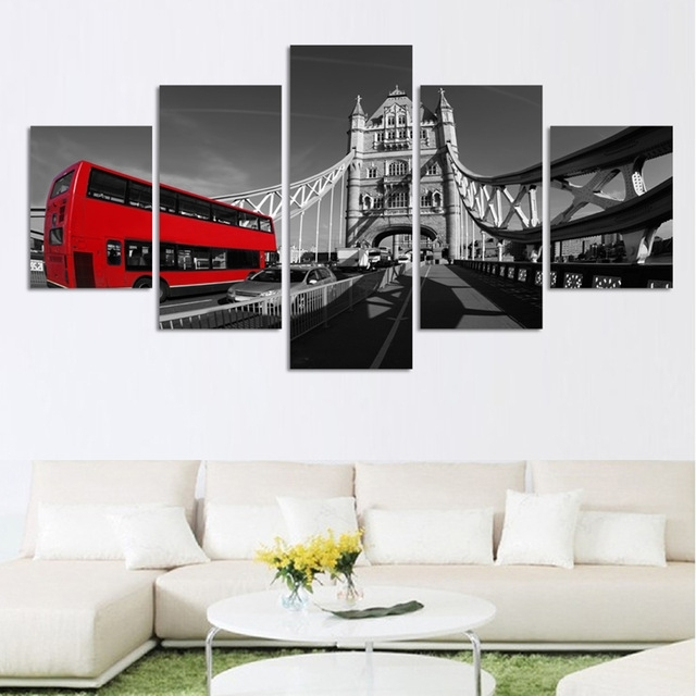 5 Piece Canvas Painting Print On Canvas Wall Art London Bus With Canvas Wall Art Of London (Image 2 of 15)