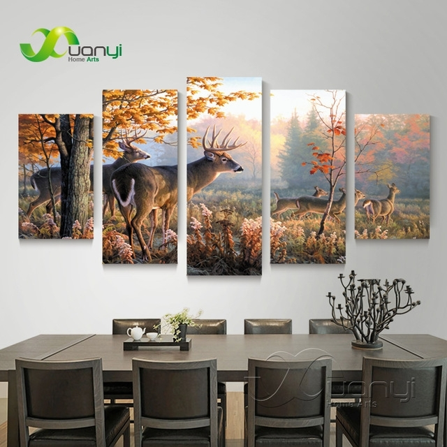 5 Piece Canvas Wall Art Deer Animal Pictures Hd Printed Wall Intended For Deer Canvas Wall Art (Image 6 of 15)