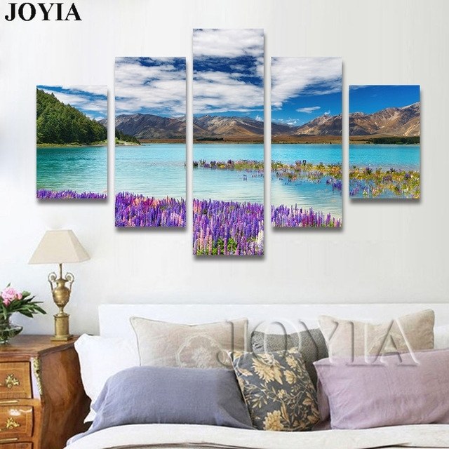5 Piece Canvas Wall Art, Nature Scene Photograph Canvas Prints Inside New Zealand Canvas Wall Art (Image 6 of 15)
