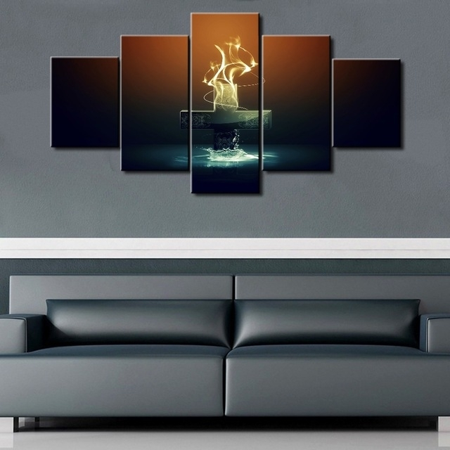 5 Piece Modular Canvas Art Jesus Cross Paintings On Canvas Wall Inside Jesus Canvas Wall Art (Image 6 of 15)