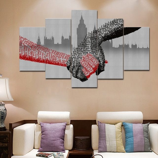 5 Piece Picture Of Shake Hands Wall Art Canvas Modular Painting Inside Abstract Office Wall Art (View 13 of 15)