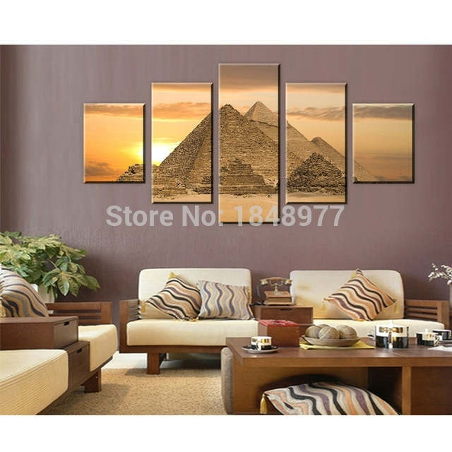 5 Piece The Most Mysterious Tomb Egyptian Pyramids Canvas Wall Art Intended For Egyptian Canvas Wall Art (View 7 of 15)