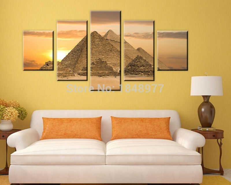 5 Piece The Most Mysterious Tomb Egyptian Pyramids Canvas Wall Art with Egyptian Canvas Wall Art