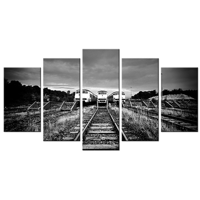 5 Piece Wall Art Decor Black&white Train Tracks Modern Painting Hd Within Retro Canvas Wall Art (Photo 1 of 15)