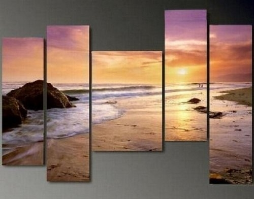 5 Piece Wall Art Hawaii Beach Sunset Large Painting 100% Hand Intended For Hawaii Canvas Wall Art (View 9 of 15)
