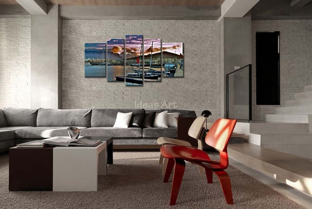5 Piece Wall Art Painting City Capetown South Africa Wharf Ships In Cape Town Canvas Wall Art (Image 1 of 15)