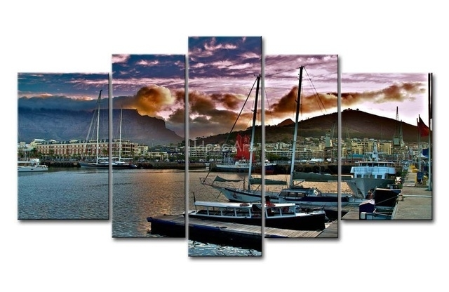 5 Piece Wall Art Painting City Capetown South Africa Wharf Ships Regarding Cape Town Canvas Wall Art (Image 2 of 15)