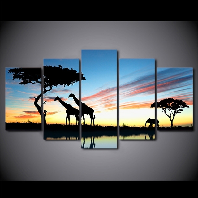 5 Pieces Canvas Prints Africa Landscape Safari Painting Wall Art Within Safari Canvas Wall Art (View 2 of 15)