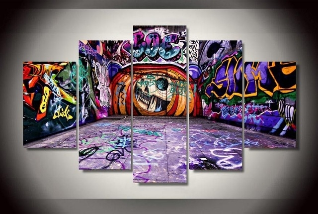 5 Pieces Canvas Prints Graffiti Art Painting Wall Art Home Decor In Graffiti Canvas Wall Art (Image 2 of 15)