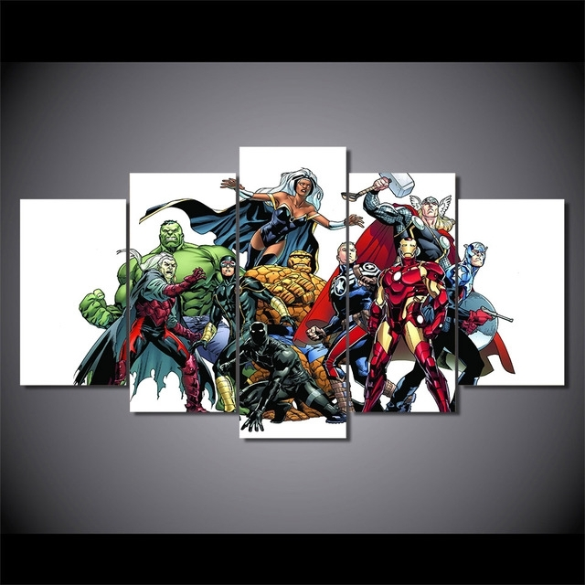 5 Pieces Canvas Prints Marvel Hero Comics Painting Wall Art Panels Intended For Marvel Canvas Wall Art (Image 7 of 15)
