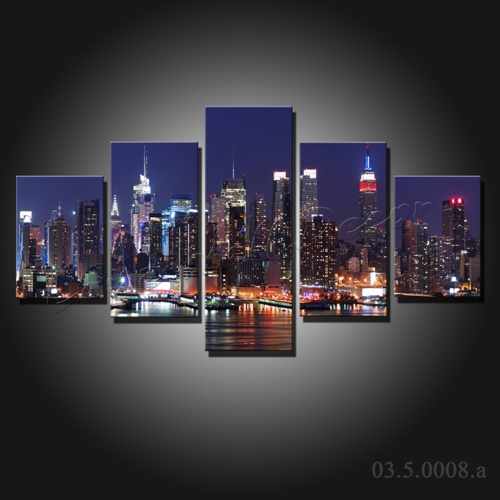 5 Pieces Large Canvas Painting New York City At Night Canvas Regarding Canvas Wall Art Of New York City (Image 2 of 15)