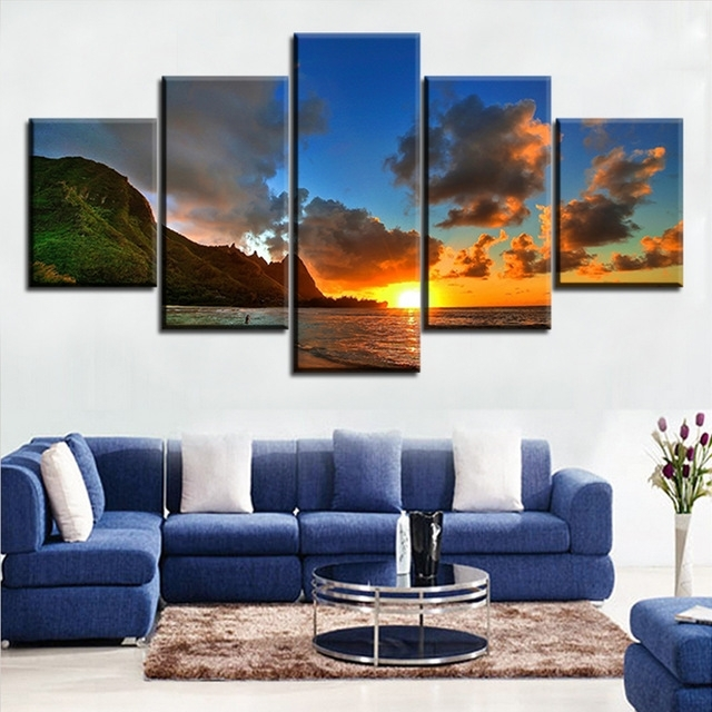 5 Pieces Modern Printed Blue Sunset Hawaii Canvas Prints Wall Art With Hawaii Canvas Wall Art (Image 5 of 15)