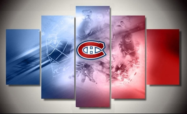 5 Pieces Montreal Canadiens Sports Team Logo Ainting Canvas Wall in Montreal Canvas Wall Art
