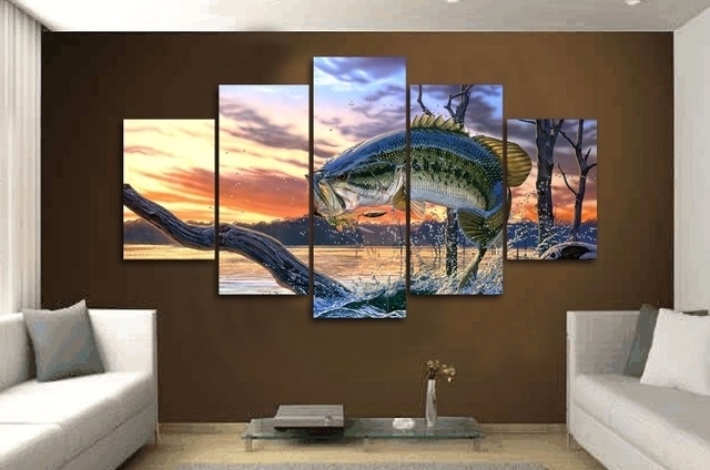 5 Pieces/set Carp Jumping Painting Print Canvas Wall Art Picture Within Jump Canvas Wall Art (Photo 5 of 15)