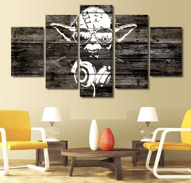 5 Pieces Star Wars Music Master Yoda Wall Art Picture Home Intended For Masters Canvas Wall Art (Image 2 of 15)