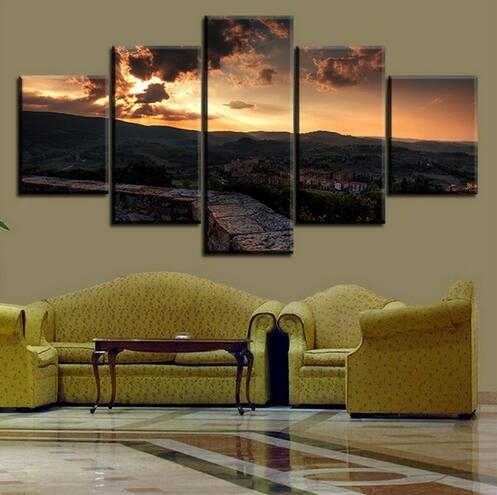 5 Set Toscana Italy Tuscany Sunset Town Sky No Frame Oil Painting Regarding Italy Canvas Wall Art (Image 5 of 15)