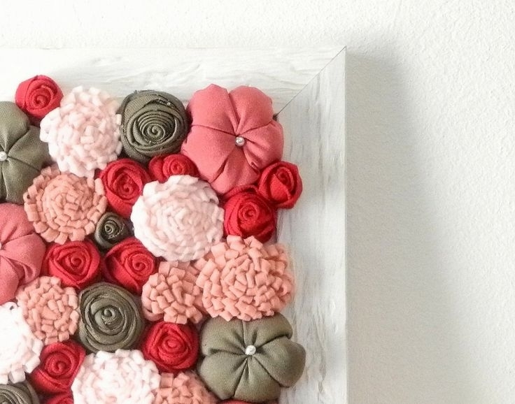 50 3D Flower Wall Art, Diy Easy Paper Heart Flower Wall Art Handy With Regard To Fabric Flower Wall Art (Image 3 of 15)