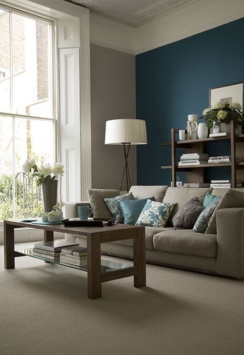55 Decorating Ideas For Living Rooms | Teal Accent Walls, Teal Regarding Wall Colors And Accents (View 12 of 15)