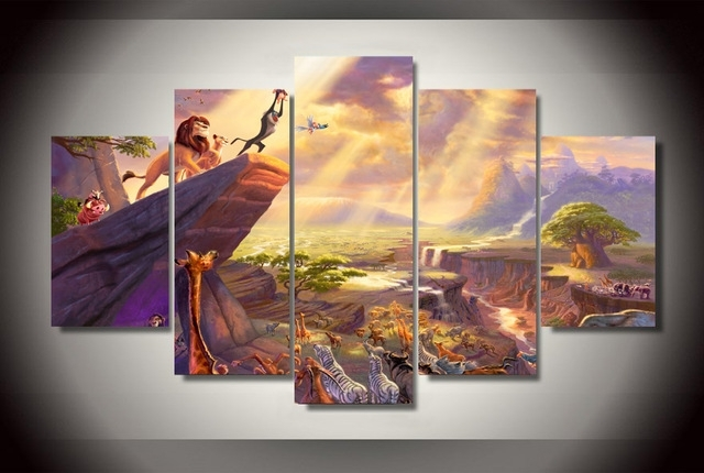 5Pcs No Frame Printed Lion King Painting Thomas Painting On Canvas For Lion King Canvas Wall Art (Image 3 of 15)