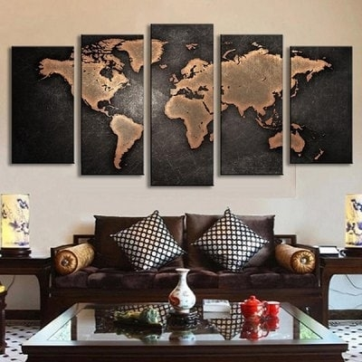 5Pcs Retro World Map Printed Canvas Print Unframed Wall Art Intended For Maps Canvas Wall Art (Image 2 of 15)