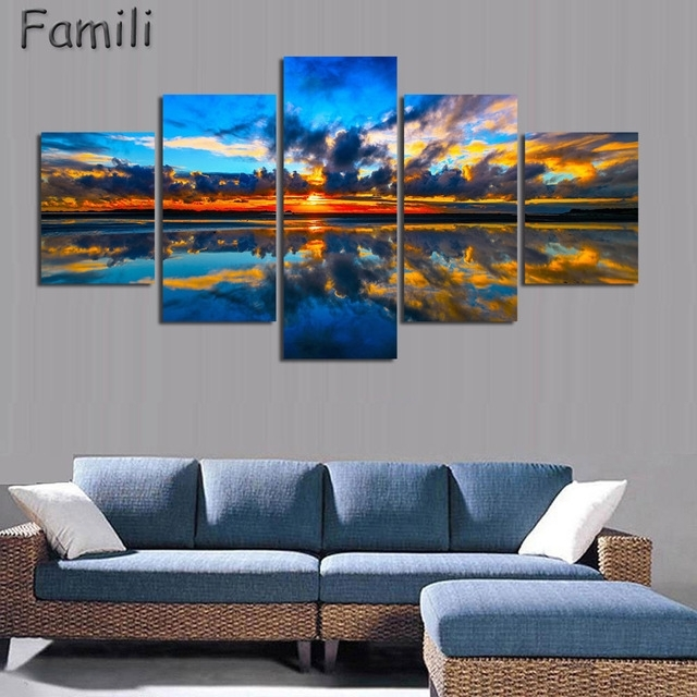 5Pcs/set Wall Art Painting New Zealand Blue Water Lake Mountain Pertaining To New Zealand Canvas Wall Art (Photo 10 of 15)