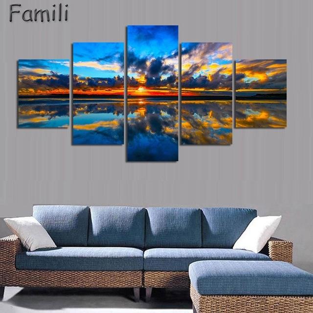 5Pcs/set Wall Art Painting New Zealand Blue Water Lake Mountain pertaining to New Zealand Canvas Wall Art
