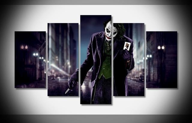 5Piece Movie Poster Prints Joker Canvas Art Modern Painting in Joker Canvas Wall Art
