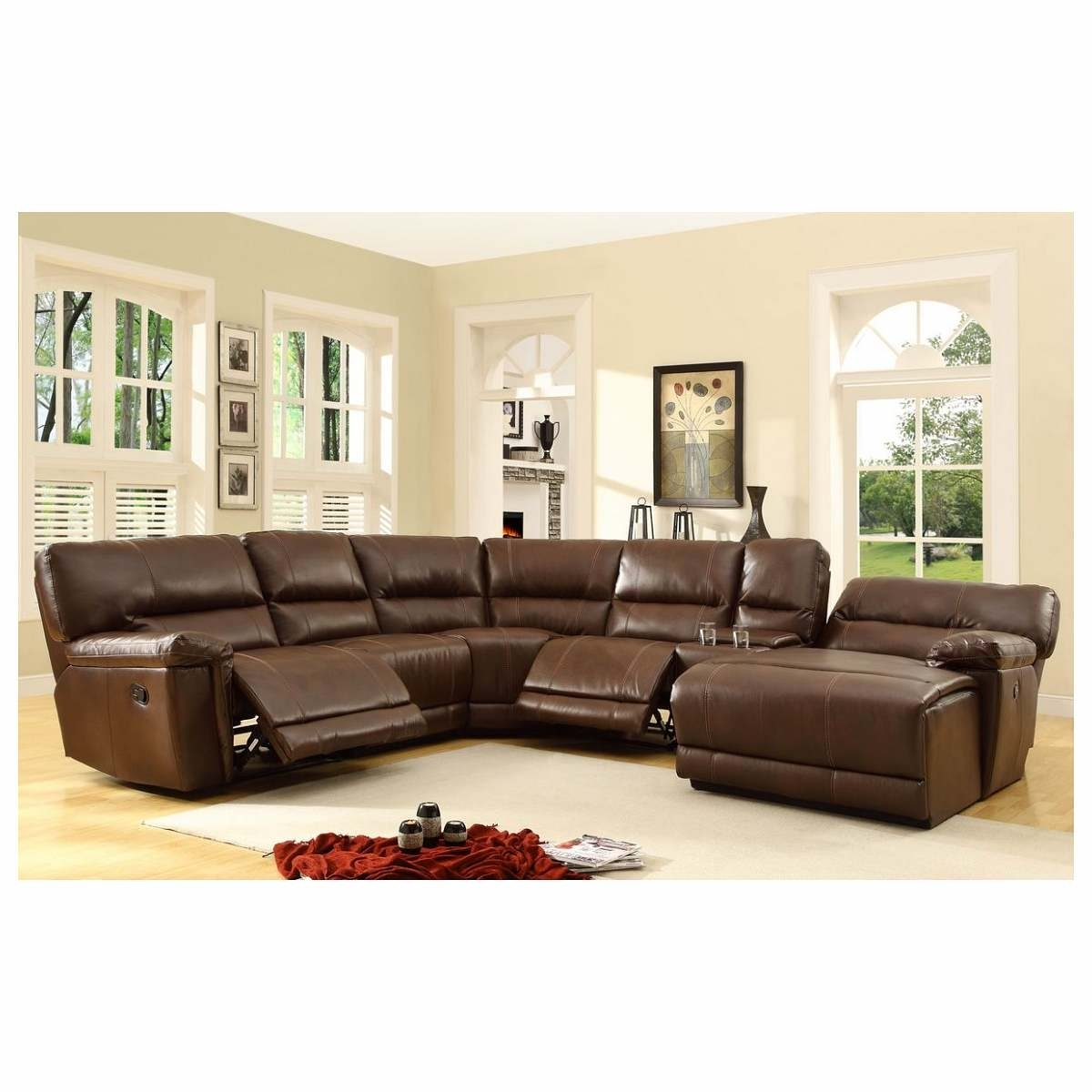 6 Pc Blythe Collection Brown Bonded Leather Match Upholstered Pertaining To 6 Piece Leather Sectional Sofas (View 3 of 10)
