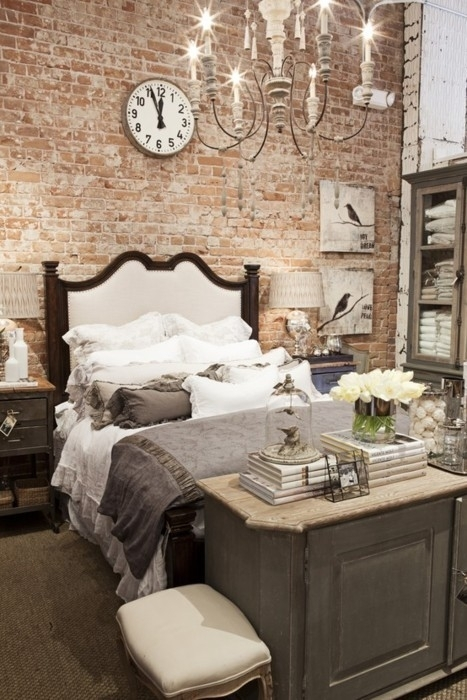 65 Impressive Bedrooms With Brick Walls – Digsdigs Within Exposed Brick Wall Accents (Photo 15 of 15)