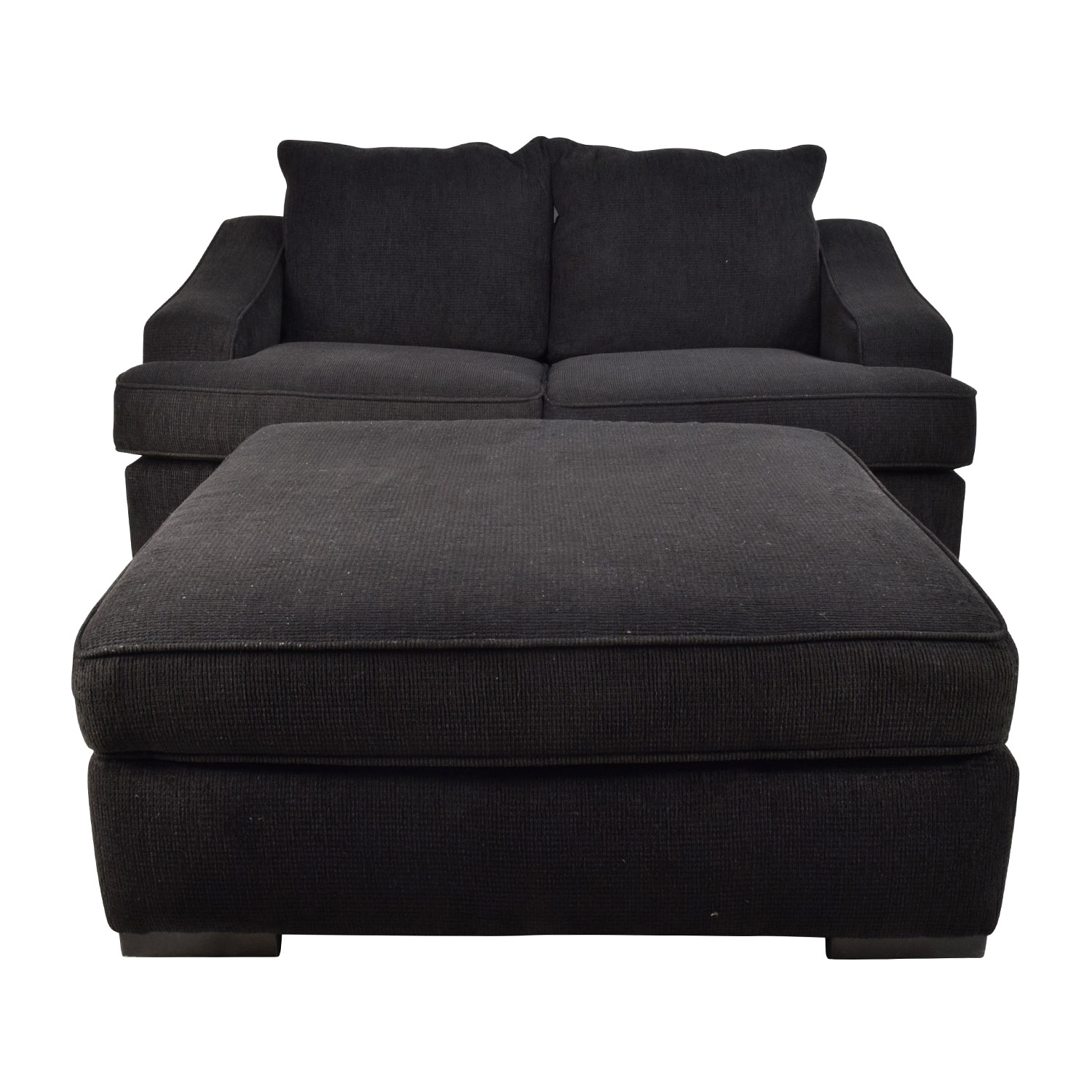 67% Off – Black Cloth Loveseat And Matching Oversized Ottoman / Sofas Intended For Loveseats With Ottoman (Photo 9 of 10)