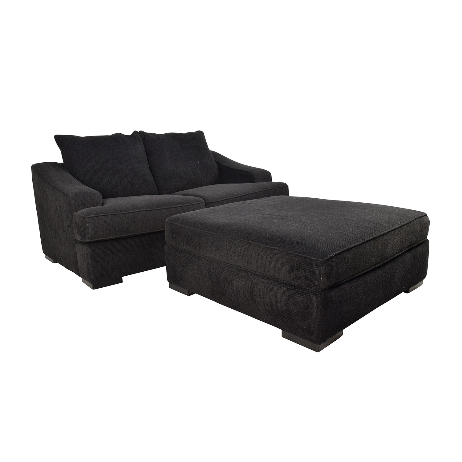 67% Off – Black Cloth Loveseat And Matching Oversized Ottoman / Sofas With Loveseats With Ottoman (Photo 7 of 10)
