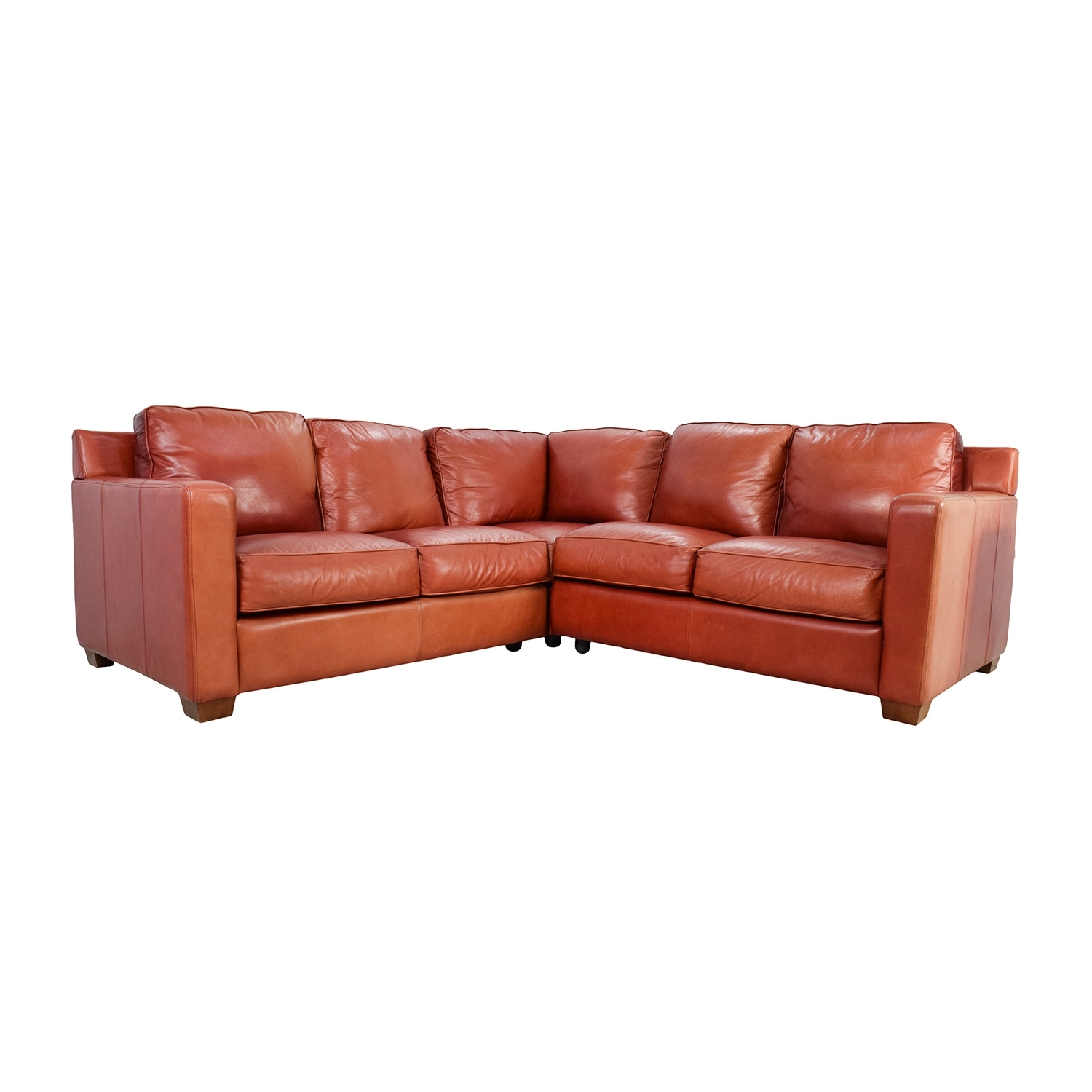68% Off – Thomasville Thomasville Red Leather Sectional / Sofas Inside Thomasville Sectional Sofas (Image 2 of 10)
