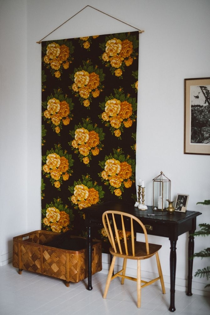 7 Larger Than Life Art Diy Ideas (On A Little Budget) | Fabric With Floral Fabric Wall Art (Image 5 of 15)