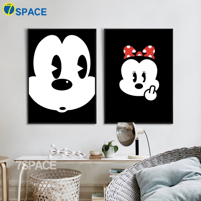 7 Space Mickey Mouse Canvas Painting Modern Cartoon Wall Art regarding Mickey Mouse Canvas Wall Art