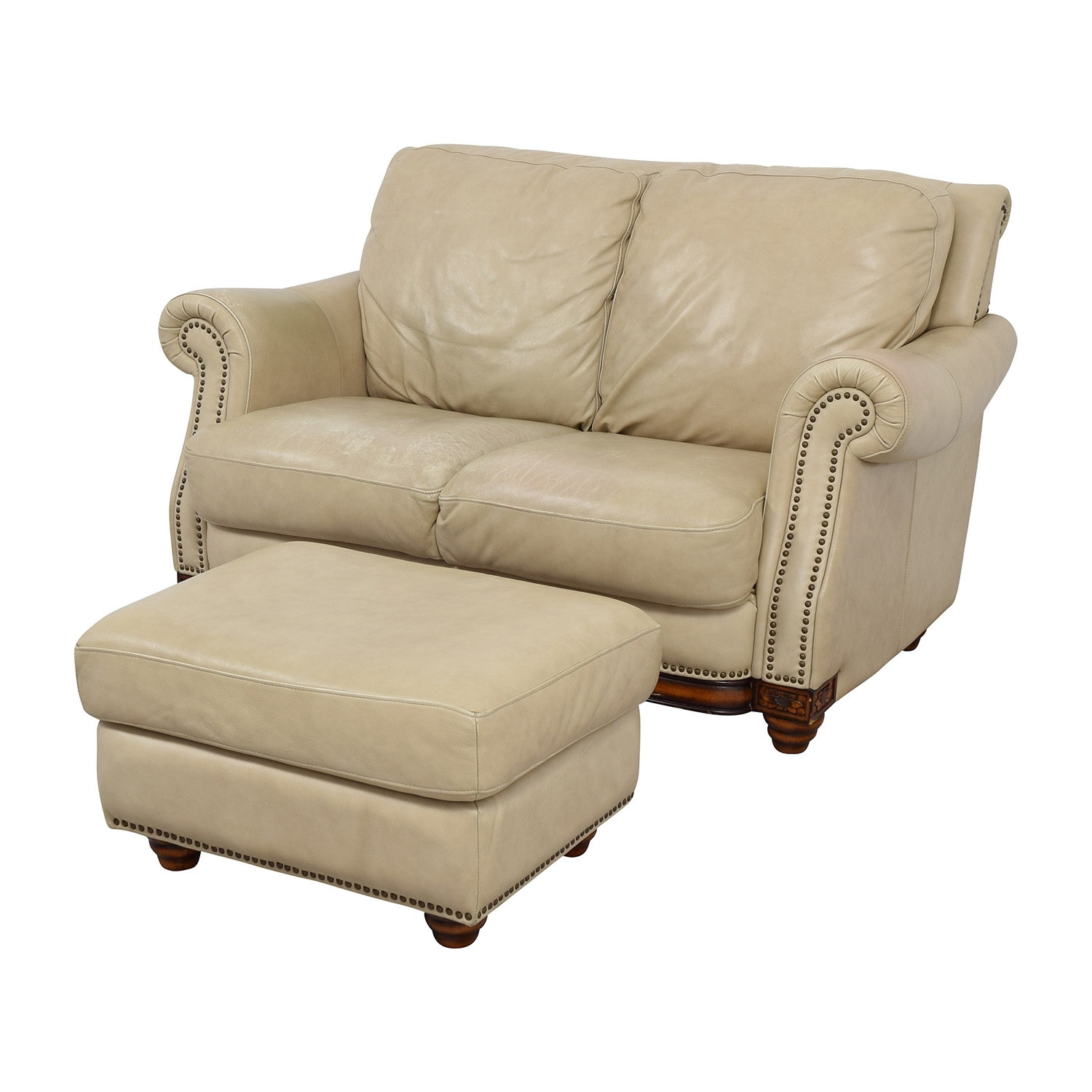 74% Off - Raymour & Flanigan Raymour & Flanigan Studded Tan Leather for Loveseats With Ottoman
