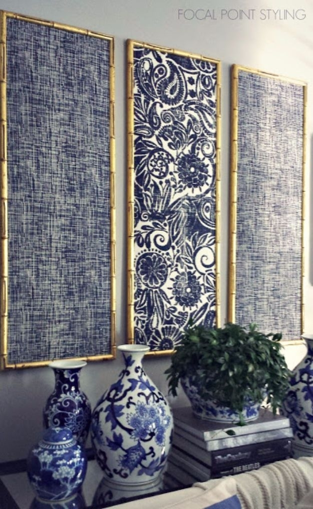 76 Brilliant Diy Wall Art Ideas For Your Blank Walls   Indigo Pertaining To Fabric Panel Wall Art With Embellishments (View 13 of 15)