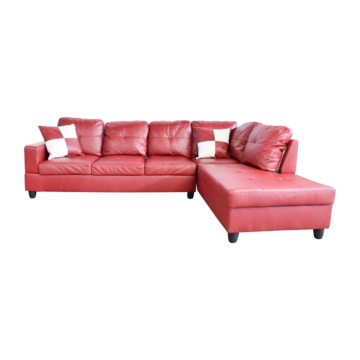 76% Off - Beverly Furniture Beverly Furniture Red Faux Leather inside Red Faux Leather Sectionals