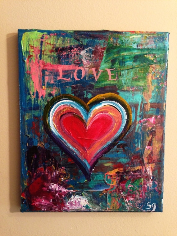 8 X 10 Abstract Heart Paintingsam Glenn | Valentines Day Art with regard to Abstract Heart Wall Art