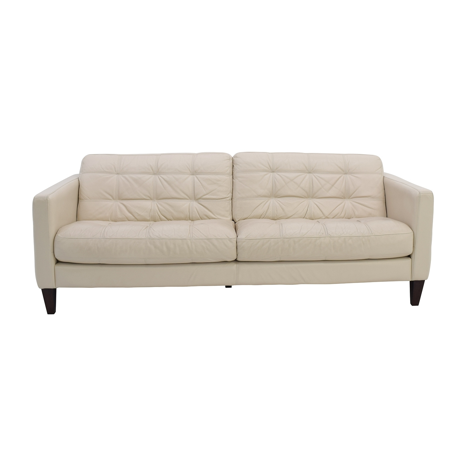 85% Off - Macy's Macy's Milan Pearl Leather Sofa / Sofas with regard to Macys Leather Sofas