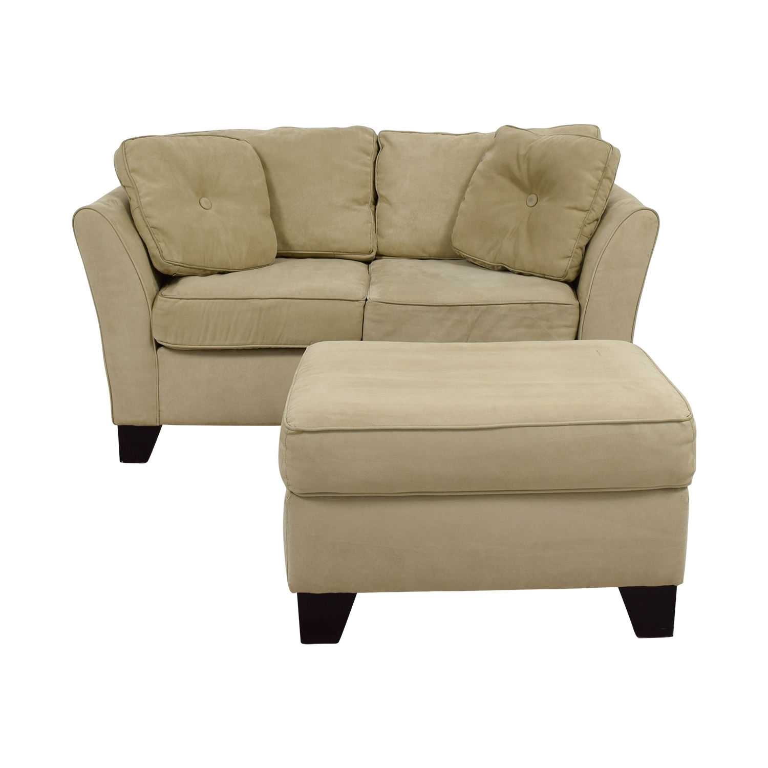86% Off - Macy's Macy's Tan Loveseat With Ottoman / Sofas inside Loveseats With Ottoman