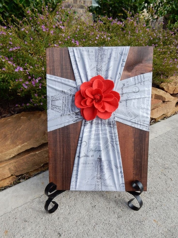 87 Best Burlap/fabric Crosses On Wood Images On Pinterest | Burlap inside Fabric Cross Wall Art