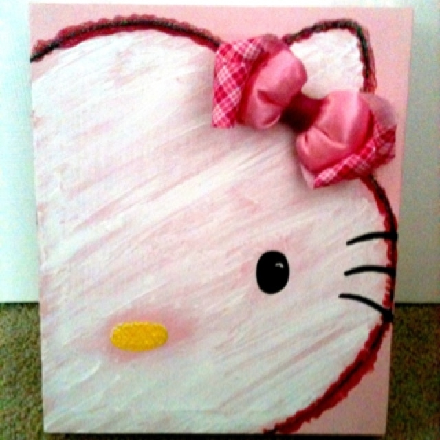 87 Best Canvas Art – Kids Images On Pinterest | Painted Canvas Pertaining To Hello Kitty Canvas Wall Art (View 8 of 15)