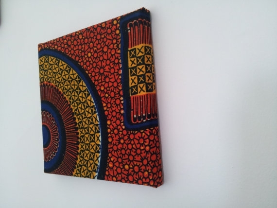 8X8 Fabric Covered Wall Art Squarerecord Disk Design Orange Intended For Ankara Fabric Wall Art (Image 6 of 15)