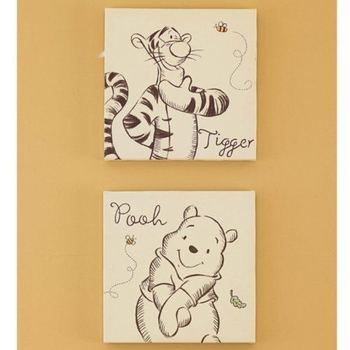 A Bear Named Pooh Canvas Wall Art 2 Piecekids Line. $6. (View 7 of 15)