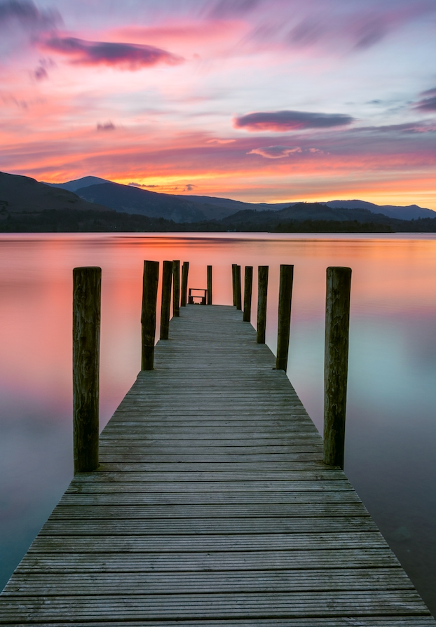 A Beautiful, Vibrant Pink And Purple Sunset With Wooden Jetty In Pertaining To Lake District Canvas Wall Art (Image 2 of 15)