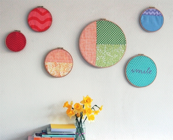 A Gorgeous Display Of Rainbow Hoop Wall Art Intended For Fabric Hoop Wall Art (View 2 of 15)