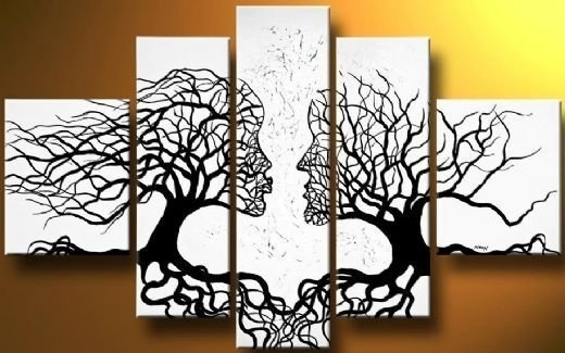 A Pair Of Black Whitetrees Modern Canvas Art Wall Decor Abstract Regarding Canvas Wall Art Pairs (View 10 of 15)