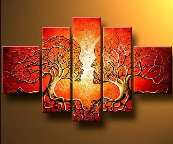 A Pair Of Trees Modern Canvas Art Wall Decor Abstract Oil Painting Within Canvas Wall Art Pairs (Image 8 of 15)